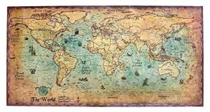 OverlookTW Large Vintage World Map Kraft Paper Colour Retro Navigation Old Sailing Map Wall Poster Living Room Craft Cards Bar Cafe Pub Home Decor Unusual usual Great Gift, gold