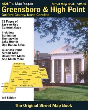 Greensboro & High Point Guilford County, North Carolina: Includes: Burlington, Thomasville, Lake Brandt, Oak Hollow Lake, Business Parks, Airport Map, (Street Map Books)