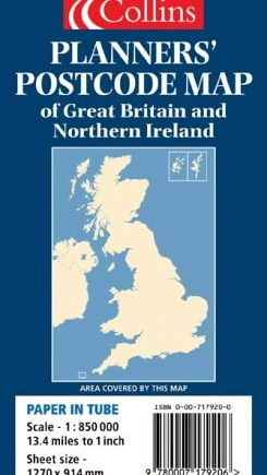 Planners' Postcode Area Map of Great Britain and Northern Ireland (Map Tubed)