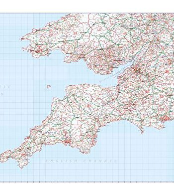 Postcode District Map 1 Southwest England & South Wales (Cardiff & Bristol) - Paper Wall Map