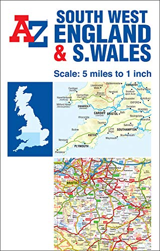 A-Z South West England & South Wales Road Map (Road Atlas)