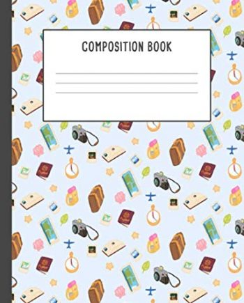 Composition Book: Adventures Explorer Travel Books Passports World Tour Trip Maps Compass Light Blue Pattern Notebook, 200 pages College ruled (7.44 x 9.69)