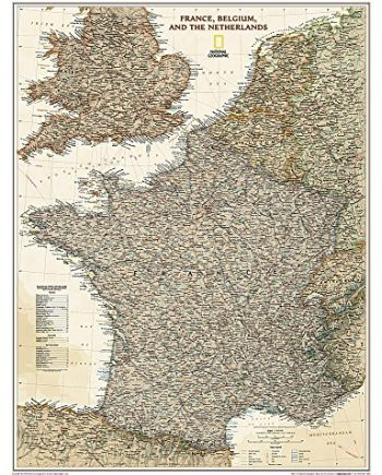 France, Belgium, and The Netherlands Executive, tubed: Wall Maps Countries & Regions (National Geographic Reference Map)