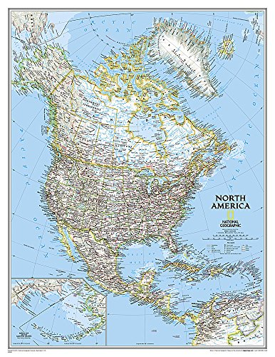 North America Classic, enlarged &, tubed: Wall Maps Continents (National Geographic Reference Map)