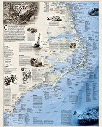 Shipwrecks of the Outer Banks, laminated: Wall Maps History & Nature (National Geographic Reference Map)