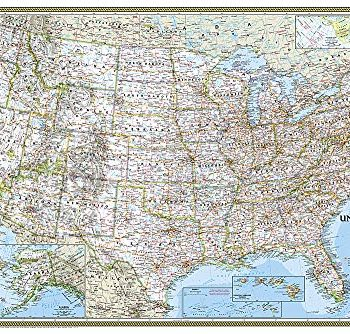 United States Classic, poster size, laminated : Wall Maps U.S. (National Geographic Reference Map)